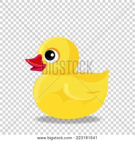 Cute yellow rubber or plastic duck toy for bath isolated on transparent background. Vector bathing baby toy illustration.