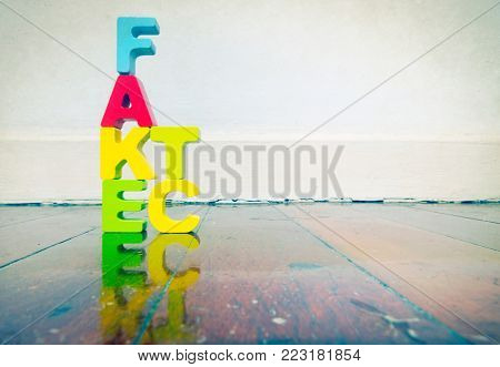 wooden letters fact fake  on wooden floor