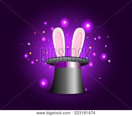 Magic hat with rabbit ears on violet mysterious background with sparkling lights. Vector magician perfomance. Wizzard illusionist show. Vector illustration.