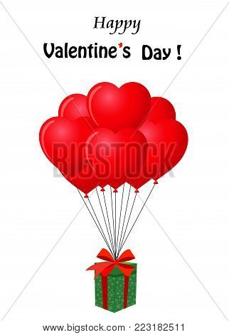 Happy  Valentine's day cartoon greeting card with  gift wrapped with red ribbon flying on heart shaped red bunch of helium balloons. Cute greeting card for Valenines day.
