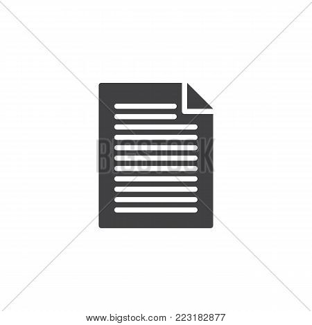 Document file icon vector, filled flat sign, solid pictogram isolated on white. Pape list symbol, logo illustration.