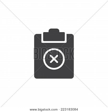 Remove document icon vector, filled flat sign, solid pictogram isolated on white. Clipboard delete symbol, logo illustration.