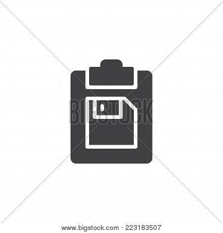 Clipboard and floppy disk icon vector, filled flat sign, solid pictogram isolated on white. Symbol, logo illustration.