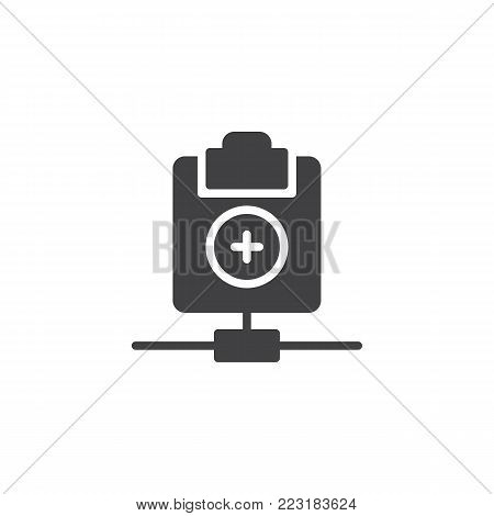 Network clipboard add icon vector, filled flat sign, solid pictogram isolated on white. Add file symbol, logo illustration.