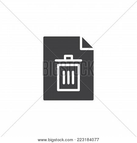 Delete file icon vector, filled flat sign, solid pictogram isolated on white. Document remove symbol, logo illustration.