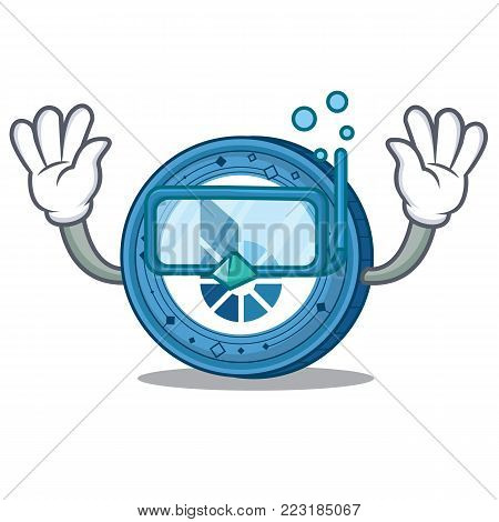 Diving BitShares coin character cartoon vector illustration