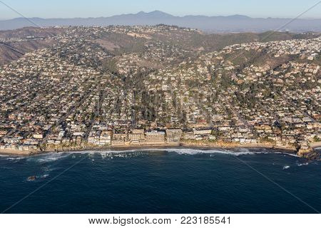 Aerial view of scenic pacific ocean waterfront in Laguna Beach, California.