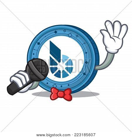 Singing BitShares coin mascot cartoon vector illustration