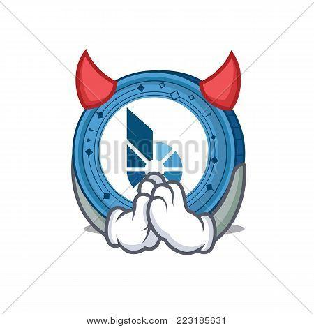 Devil BitShares coin mascot cartoon vector illustration