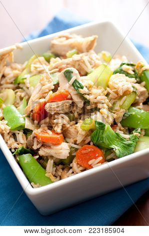 healthy chicken stir fry with farm fresh vegetables stock photo