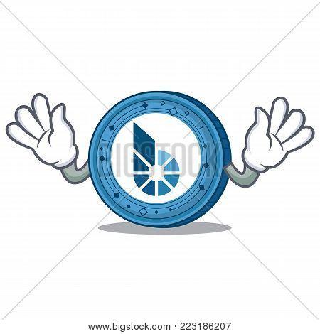 Mocking BitShares coin mascot cartoon vector illustration