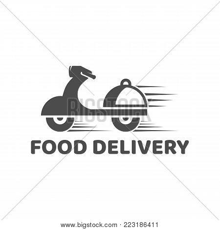 Delivering motorcycle icon. Flat logo design. Vector illustration.