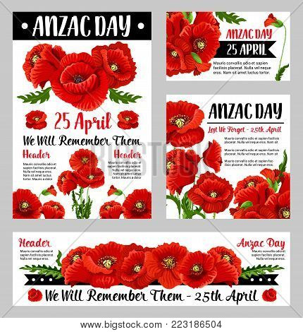 Anzac poppy poster set with floral symbol of National Day of remembrance in Australia and New Zealand. Red flower and black ribbon banner with We Will Remember Them text for Anzac Day card design