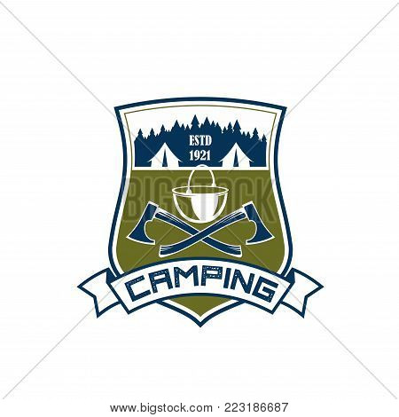 Camping or forest outdoor scout adventure club icon design template. Vector isolated badge of camp tent and crossed axes with camping bowler for hiking and extreme nature explorer team