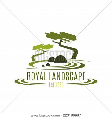 Landscape design company or green landscaping studio icon template. Vector symbol of green trees in forest park or woodlands for royal horticulture and landscaping service and eco green design
