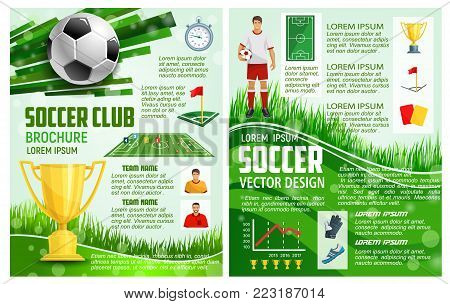 Soccer club or football sport game brochure design template for championship cup or soccer college league. Vector football golden cup, team champion information and goal score results for match