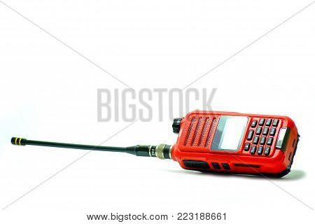 Used Portable UHF radio transceiver isolated on white background