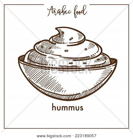 Bowl of creamy hummus from traditional Arabic food. Appetizer of mashed potatoes, which includes sesame paste, natural olive oil, spicy garlic, lemon juice, sweet paprika isolated vector illustration.