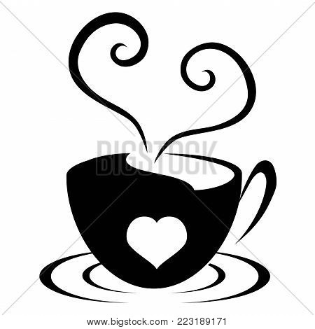isolated love heart cup icon from white background