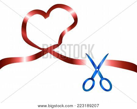 isolated scissors cutting red heart ribbon from white background