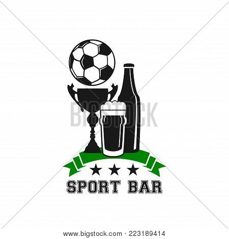 Soccer sport bar or football fan club live sports pub icon template of beer bottle, ball and championship winner cup. Vector isolated draught beer pint glass, victory ribbon and tournament stars