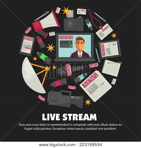 News broadcast live stream report poster of anchorman and television journalism profession equipment. Vector icons of reporter video camera, broadcasting antenna and microphone or journalist badge
