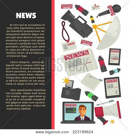 News and television journalism flat poster of journalist working tools for news and live report broadcast. Vector icons of TV anchorman with reporter video camera, microphone and access badge