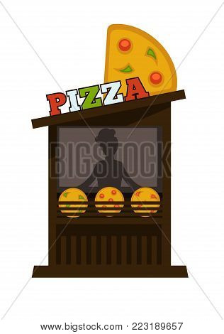 Pizza street food vending wooden booth stand. Vector isolated flat icon of pizzeria fast food vendor counter with pizza signage
