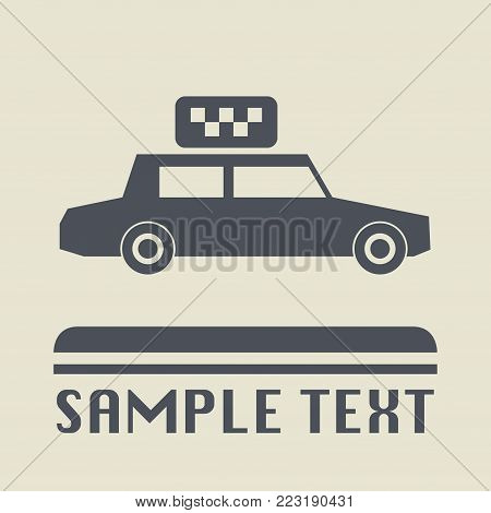 Taxi car or cab icon or sign, vector illustration