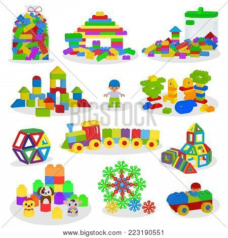 Kids building blocks vector baby toys colorful bricks for construction in playroom where children build or construct tower illustration set of child blocks games isolated on white background.