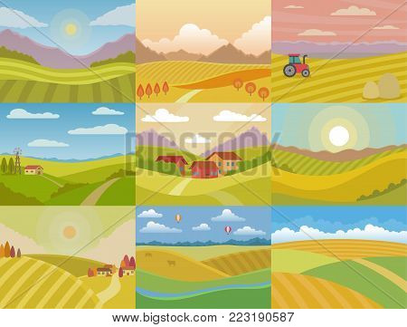 Landscape vector meadow field landscaping countryside of nature with horizon sunlight country landscaped view set illustration isolated on white background.