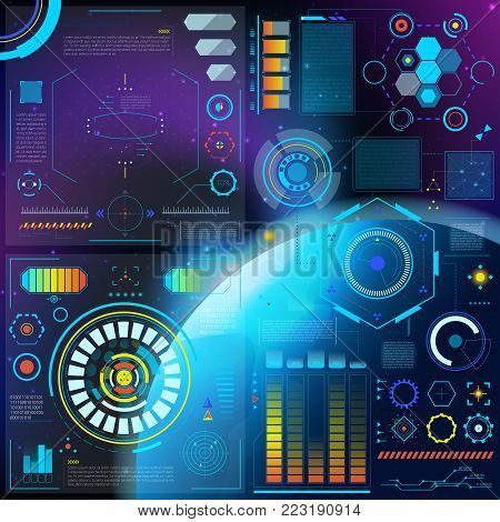 Interface vector hud dashboard futuristic interfaced spacepanel with interfacing hologram technology on digital bar interfacial screen on spaceship illustration set.
