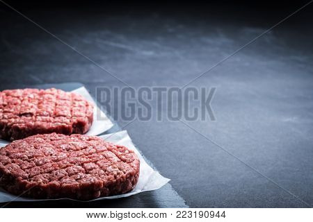 Raw ground beef meat burger cutlets on grey cooking background