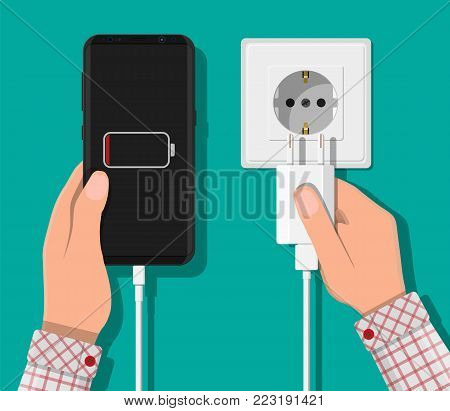 Smartphone and charger adapter. Low battery, addiction. Phone is charging from wall outlet. Vector illustration in flat style