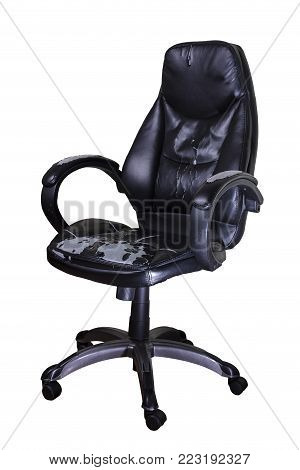 shabby office chair isolated on white background