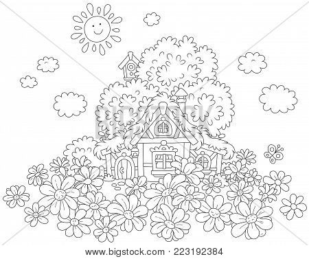 Small lodge with a thatched roof under a tree on a field of daisies, a black and white vector illustration for a coloring book