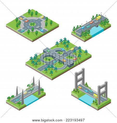 Bridges and Roads Icons Set Isometric View Element of Map Plan. Vector illustration of Bridg and Road Icon