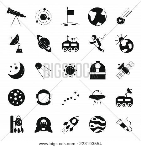 Space black simple silhouette icons vector set. Collection of space objects with astrunaut, planet and moon isolated on white background.