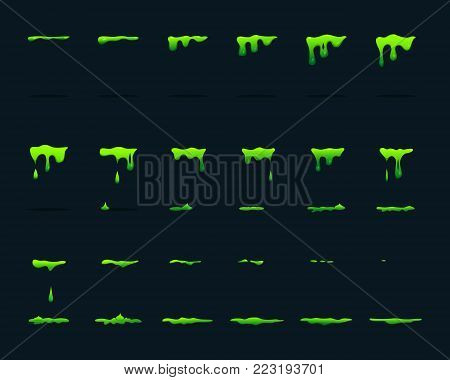 Key frame animation of dripping acid. Vector picture set. Green acid drop toxic, stain and splatter illustration