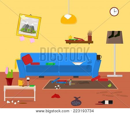 Cartoon Dirty Organized Apartment for Cleaning Room Service Card Poster for Ad Housework Concept Flat Design Style. Vector illustration