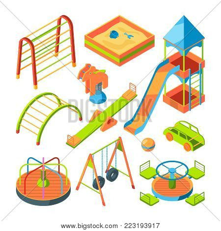 Kids playground. Isometric pictures set. Playground with ladder and slide. Vector illustration