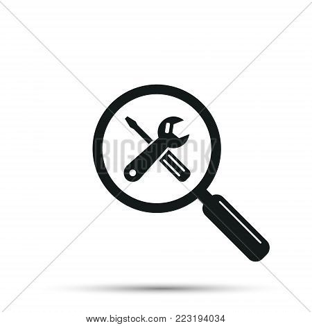 Search repair and maintenance car service station, vector. Crossed tools symbol with magnifying glass. Vector isolated illustration.