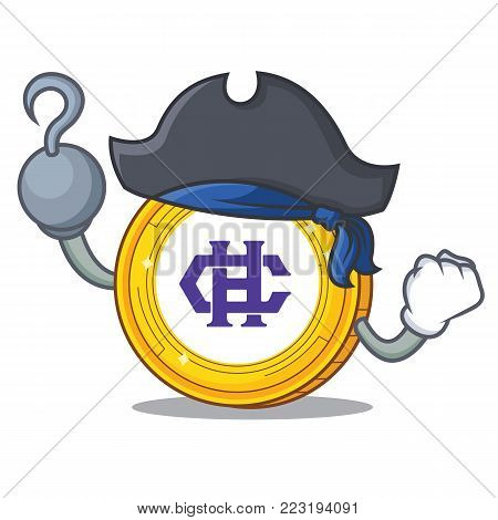 Pirate Hshare coin character cartoon vector illustration