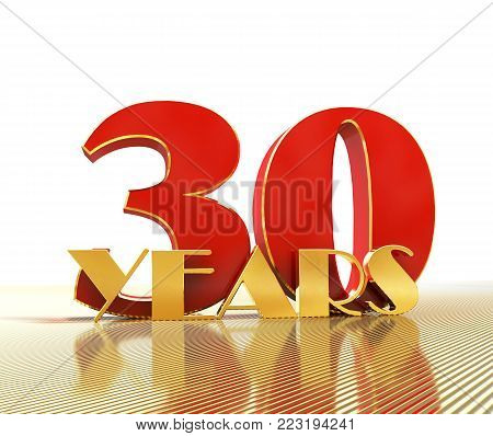 Golden number thirty (number 30) and the word