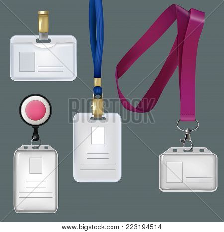 Illustrations of realistic templates of personal badges, security plastic cards. Vector card personal, plastic identity badge
