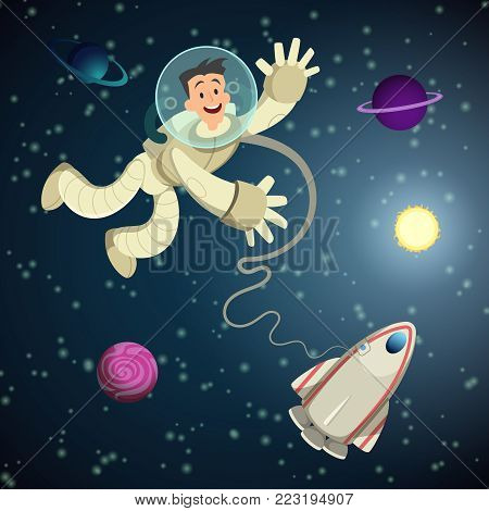 Astronaut in open space with shuttle and some planets. Vector cartoon background. Character astronaut in universe, planet and galaxy illustration