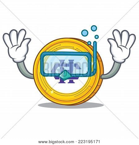 Diving Hshare coin character cartoon vector illustration