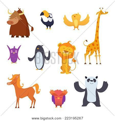 Cartoon birds and animals isolated on white. Vector funny bird penguin and cockatoo, panda and lion, buffalo and giraffe illustration