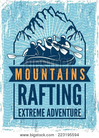 Poster for extreme sport club. Monochrome illustration of rafting. Canoe or kayak on sea. Extreme mountain water sport, rafting and kayaking vector