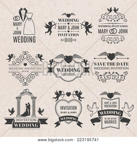 Wedding labels set vector photo free trial bigstock wedding labels set in victorian style monochrome pictures set for badges or logos wedding stopboris Choice Image